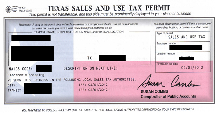 Texas Sales and Use Tax Permits – The Gypsy Rose Market
